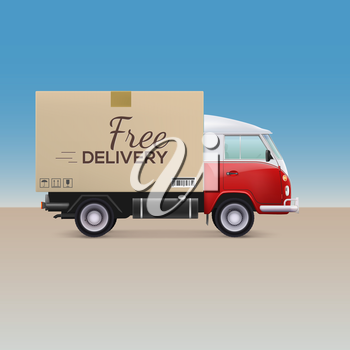 Delivery car. Free delivery inscription on cardboard box