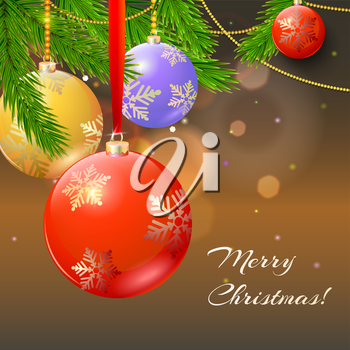 New year composition with firs branches and Christmas balls on blurred background
