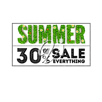 Summer sale. Large letters with green foliage and an inscription in the form of a stamp