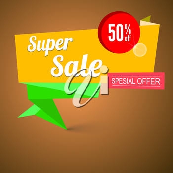 Super sale origami banner. Great background for your promotional posters, advertising shopping flyers, brochure or booklet and discount banners. Vector speech bubble