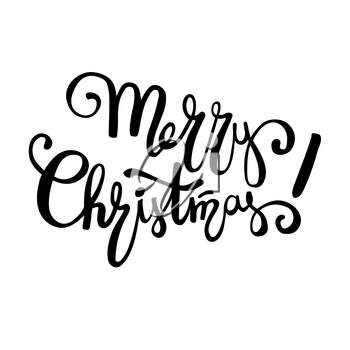 Merry Christmas lettering design, handwriting text typography. Greeting card on a white background, template for your congratulations.. Vector illustration. EPS 10