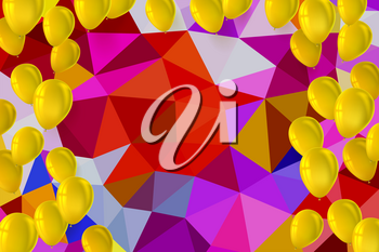 Greetings happy birthday card with inflatable balloons on background from colored bright triangles. Festive background for greeting cards, presentations, commercial ad with color, inflatable balloons.