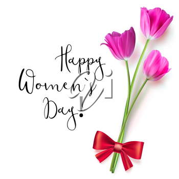 Template greeting card with tulips tied with a red bow. Happy women s day, congratulations for nice and lovely people. Realistic Tulip flower on white background.