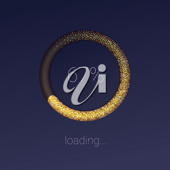 Icons of luxury 3D web preloader of updates on dark. Glittering radial downloads or upgrade diagram. Loading bar for mobile apps. Progress bar with percentage of progress Vector illustration, EPS10