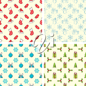 Red, blue and green holiday designs.