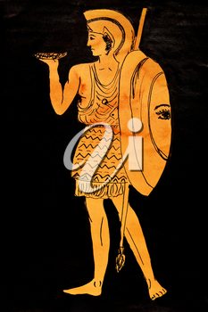 historical costume - ancient greece Warrior stylized classical Greek painting 5th century BC