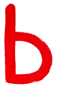 letter b hand painted by red brush on white background