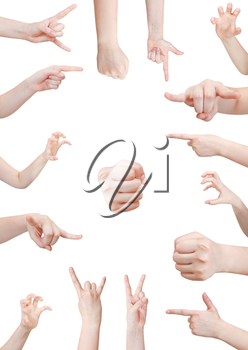 set of aggressive hand gesture isolated on white background