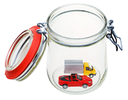 two new vehicles in open glass jar