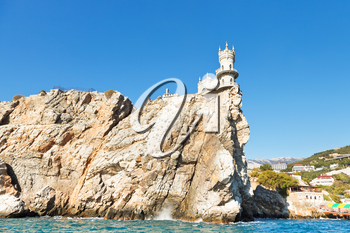 Aurora cliff with Swallow's Nest castle on Southern Coast of Crimea