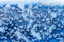 blue snowflakes and frost pattern on window in cold winter evening