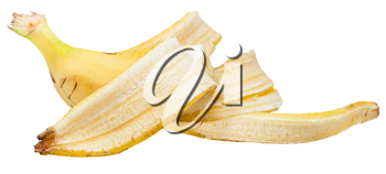 side view of half yellow banana in the peel isolated on white background