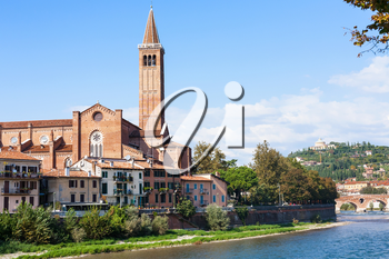 travel to Italy - view of Sant Anastasia church near Ponte Pietra on Adige river bank in Verona city