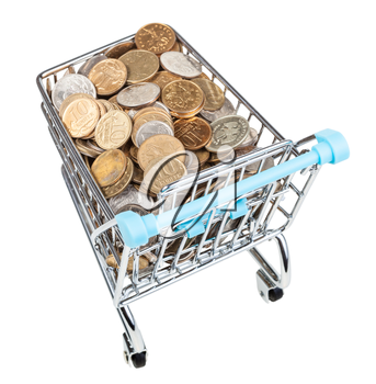 shopping trolley with russian coins isolated on white background