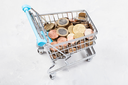 shopping cart with euro coins on concrete plate