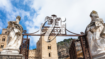 travel to Italy - gate of Cathedral Duomo di Cefalu in Sicily