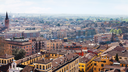 travel to Italy - above view of Verona town with lungadige street from tower Torre dei Lamberti in spring