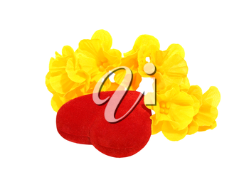 Red heart and yellow flower isolated on a white background.