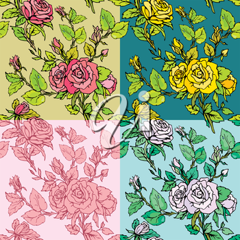 Set of seamless backgrounds - Floral Seamless Pattern with hand drawn flowers - roses. Ready to use as swatch