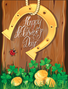 Holiday card with calligraphic words Happy St. Patrick`s Day. Shamrock, horseshoe, ladybug and golden coins on wooden background