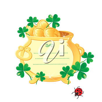 St. Patrick's design - frame is made of  gold pot with gold coins and shamrock.