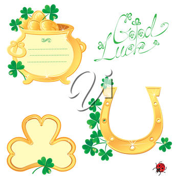 Set of Frames for Saint Patrick's day design with shamrock,  gold coins, pot and horse shoe