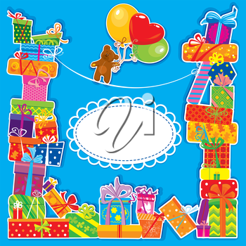 baby birthday card with teddy bear and gift boxes for boy