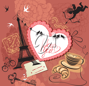 Vintage Valentine's Day Postcard with Paris theme - Effel tower, heart, angel and calligraphy text I love you.