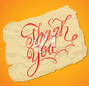 Handwritten calligraphy text Thank You over old yellow paper background.