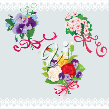 Set of holidays bouquets with sakura, roses, pansies and forget me not flowers. Elements for holiday design.