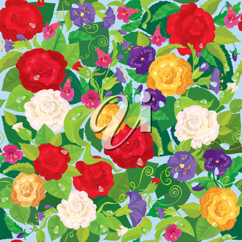 Seamless background with beautiful flowers - rose, pansy, bellflower