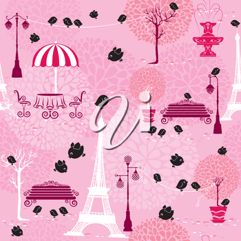 Seamless pattern with black birds silhouettes (sparrows) and town landscape with Effel Tower on a pink floral background.  Ready to use as swatch