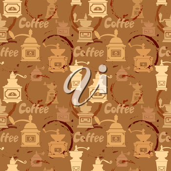 Seamless pattern with grinder, coffee stain, calligraphic text COFFEE. Background design for cafe or restaurant menu.