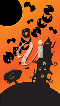 Halloween poster with sign, mystery house, bats and moon. Empty space for your text