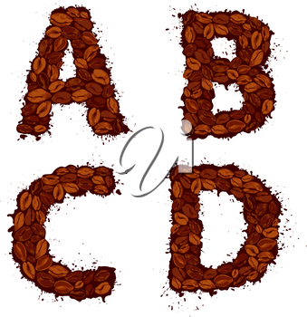 ABCD, english alphabet letters, made of coffee beans, in grunge style, isolated on white background