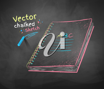 Color vector chalk drawing of school notebook.