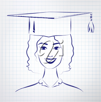 Student girl wearing graduation hat. Vector hand drawn sketch on notebook background.