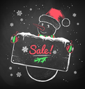 Color chalk vector sketch of Christmas Snowman with sale signboard on black chalkboard background.