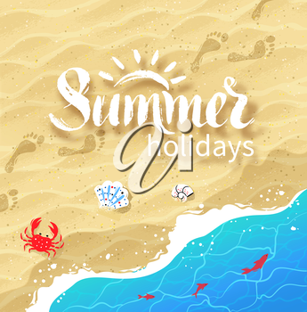 Hand drawn Summer word lettering on background with sea surf, shells, crab, water ripple and beach sand.