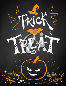 White and orange chalk drawn Trick or Treat Halloween poster with pumpkin and candies on blackboard background.