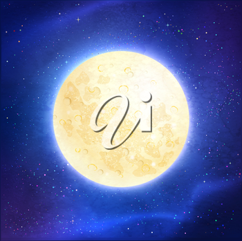 Vector illustration of full moon on dark blue outer space and stars background.