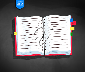 Top view vector illustration of opened school notebook with bookmarks and shadow on chalkboard background