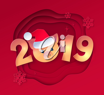 Vector cut paper art style gold colored illustration of 2019 numbers lettering with cute piggy face in Santa hat on red layered shapes background.