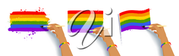 Vector illustration collection of hands drawing LGBTQ flags colors with paintbrush isolated on white background.
