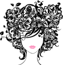 Illustration has abstract floral elements, leaves, butterflies, patterns. Isolated on a white background.
