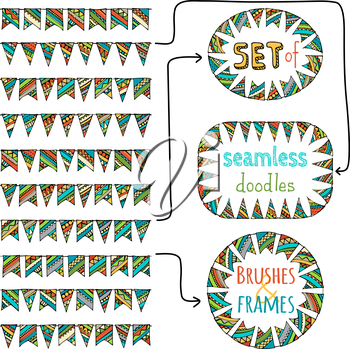 Festive doodles garlands isolated on white background. All pattern brushes are attached in brushes palette.