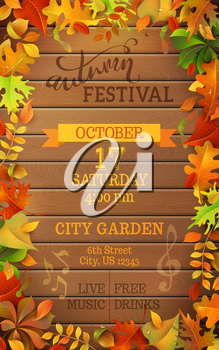 Bright colourful autumn leaves on vertical wood background. You can place your text in the center.