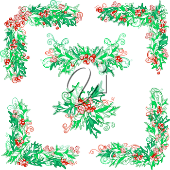 Vector Christmas design elements isolated on white background. Can be used for your Christmas invitations or congratulations.