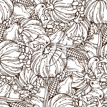 Plenty of fruits and vegetables. Corn, pumpkin, grape, autumn leaf, apple and pear. Autumn time. Hand-drawn linear boundless background. Duotone illustration.