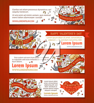 Cartoon Valentine's day and wedding red and gold banners. Romantic music, weekend, menu, tours. There is place for your text on white background.
